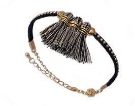 Bracelet Calypso pompons noirs