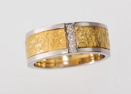 Bicolor Ring imm Fingoldlook aus 585 Gelb&Weißgold