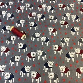 Patchwork Hunde, grau-blau-rot