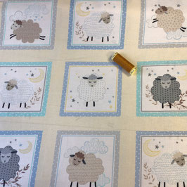 Patchwork Panel Schafe hellgelb-bleu