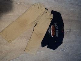 2886 Set La Shirt dunkelblau mit Chucks und passender gefüttertert Hose in beige (an Knien Abnutzung ) von MAYORAL BABY Gr. 86