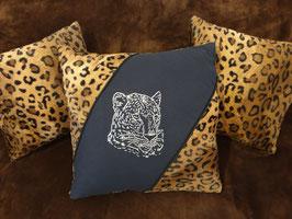 Kissen-Set 3-teilig mit Strassmotiv Leopard