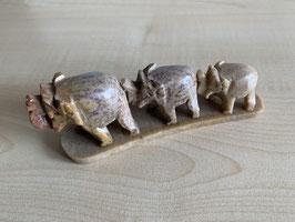 Speckstein-Elefanten, 3er Gruppe auf Speckstein-Platte - 5