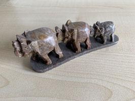 Speckstein-Elefanten, 3er Gruppe auf Speckstein-Platte - 7