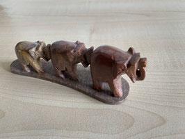 Speckstein-Elefanten, 3er Gruppe auf Speckstein-Platte - 11
