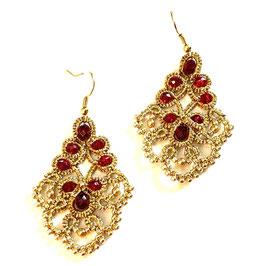Ohrringe  gold Perlenarbeit