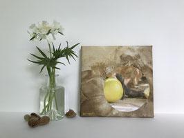 Echse Zitrone - Collage auf Keilrahmen