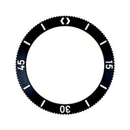 Lünette mit Leuchtmasse für VOSTOK AMPHIBIA KOMANDIRSKIE Uhren von VOSTOK, Edelstahl, schwarz PVD beschichtet, weiße Schrift , LÜ-MAS-01