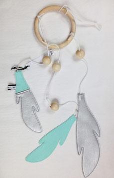 Dreamcatcher- Attrape rêve vert menthe et argent Bisou de lou