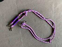 Hundeleine pink-lila-flieder mit lila Takelung - 2,60 Meter