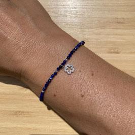Bracelet argenté Lapis Lazuli 2mm, REF: BA06-05