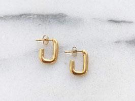 Vergoldete Ohrringe 14k Gelbgold Creolen Stecker Rechteck Vintage Stil
