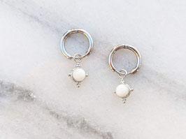 Weißgold Ohrringe Creolen 14k Vergoldet Silber Naturstein Weiß Vintage Stil