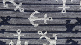 Jersey grau + blaue Streifen mit Lurexfaden und weißen Ankern