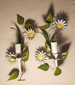 Paire d'appliques vintage en métal bouquet marguerites