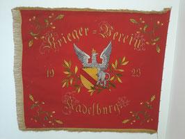 """Große Fahne """"Kriegerverein Kadelburg"""" Baden Greif, """"Mit Gott für Volk und Vaterland"""" mit Eisernem Kreuz!"""