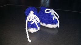 Baby-Finkli 'Turnschuh' Blau/Wess (für Frühchen) (Nr. 1)
