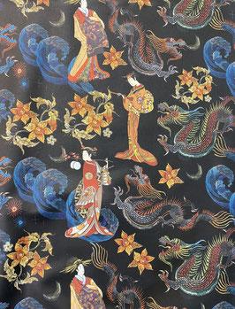 Loneta estampado japonés fondo negro