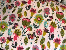 Soft Sweatstoff - Vögel / Blumen