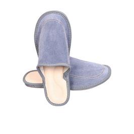 Pantoufles cuir homme bleu