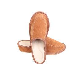 Pantoufles cuir femme camel