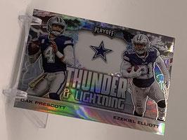 Ezekiel Elliott/ Dak Prescott (Cowboys) 2020 Playoff Thunder & Lightning Prizm #TL-3