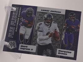 Lamar Jackson/ Mark Ingram/ Marquise Brown (Ravens) 2020 Mosaic Flea Flicker