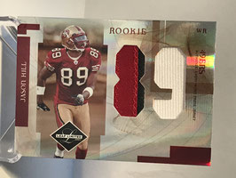 Jason Hill (49ers) 2007 Leaf Limited Rookie Jumbo Jerseys Jersey Number Die-Cut Prime #RJ-32