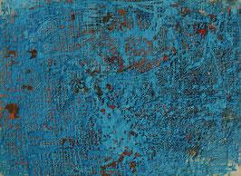 Abstract blauw met roodbruine ondergrond