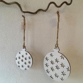 Holz- Weihnachtskugeln flach