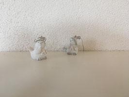 Wintervögel weiß mit Glitzer