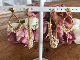 Perlenohrringe in Gold