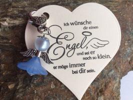 Engel / Schutzengel mit Engel Vers Herzkarte blau