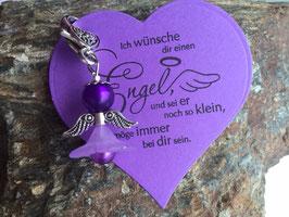 Engel / Schutzengel mit Engel Vers Herzkarte lila