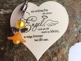 Engel / Schutzengel mit Engel Vers Herzkarte orange