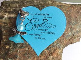 Engel / Schutzengel mit Engel Vers Herzkarte türkis