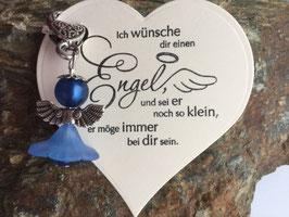 Engel / Schutzengel mit Engel Vers Herzkarte navy