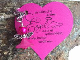 Engel / Schutzengel mit Engel Vers Herzkarte pink