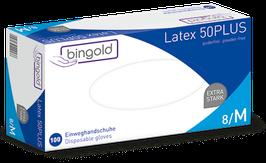 BINGOLD Latex 50PLUS puderfrei weiß 100er Box Größe M