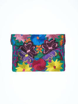 Boho Clutch / Abendtasche / Schultertasche Blumenwiese (türkis-grün-gelb) aus Mexiko