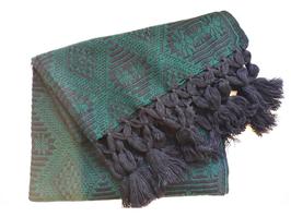 Boho Schal/ Tuch, Winterschal (schwarz-dunkelgrün) aus Mexiko
