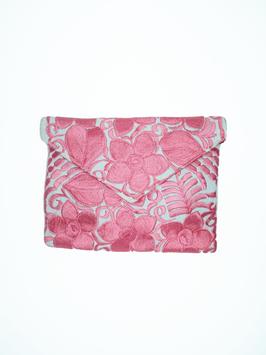 Boho Clutch / Abendtasche / Schultertasche (rosa-weiss) aus Mexiko