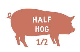 Half Hog - $4/lb Hanging Weight Plus Cut and Wrap-$100 Deposit