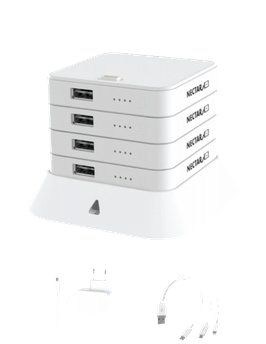 NECTAR 4ER STACK / Powerbank (Lädt Smartphones, Tablets, Fotokameras, Bluethooth- Lautsprecher, AirPods usw.)