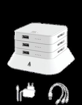 NECTAR 3ER STACK / Powerbank (Lädt Smartphones, Tablets, Fotokameras, Bluethooth- Lautsprecher, AirPods usw.)