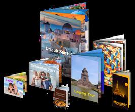Fotobroschüre, Broschüre / Katalog mit Drahtheftung, Endformat DIN A6 oder A5, 8 oder 16-seitig,  Qualitätspapier