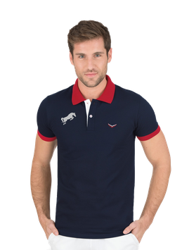 MAN Zweifarbiges Poloshirt - Navy by twohearts® Slim Fit- NewGeneration