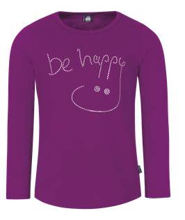 Langarmshirt - Be Happy Brombeer