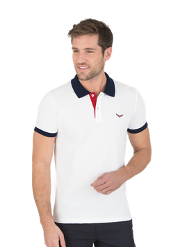 MAN Zweifarbiges Poloshirt - Slim Fit Weiss by twohearts®- NewGeneration