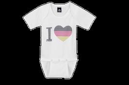 Twohearts® Baby Body Deutschland Herz Weiss - 100% Baumwolle